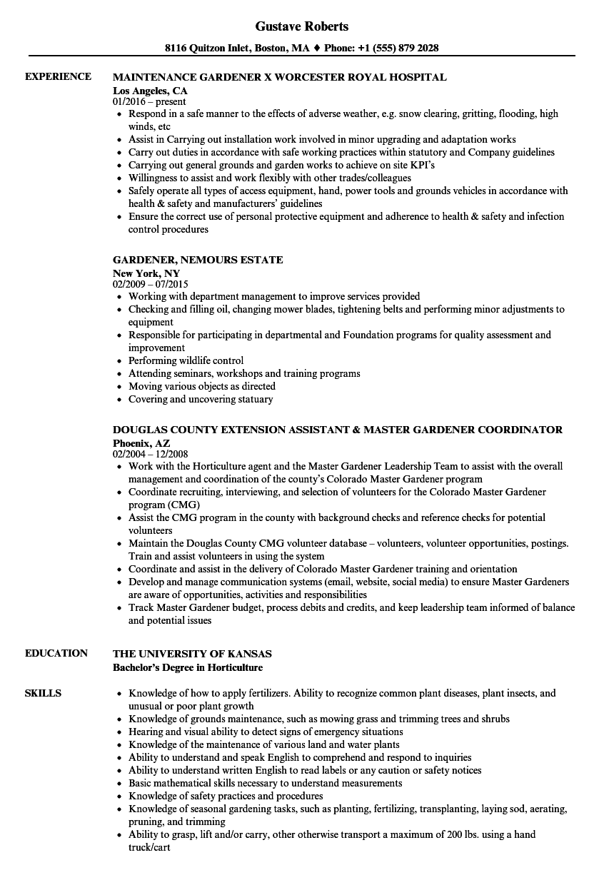 resume samples landscaping