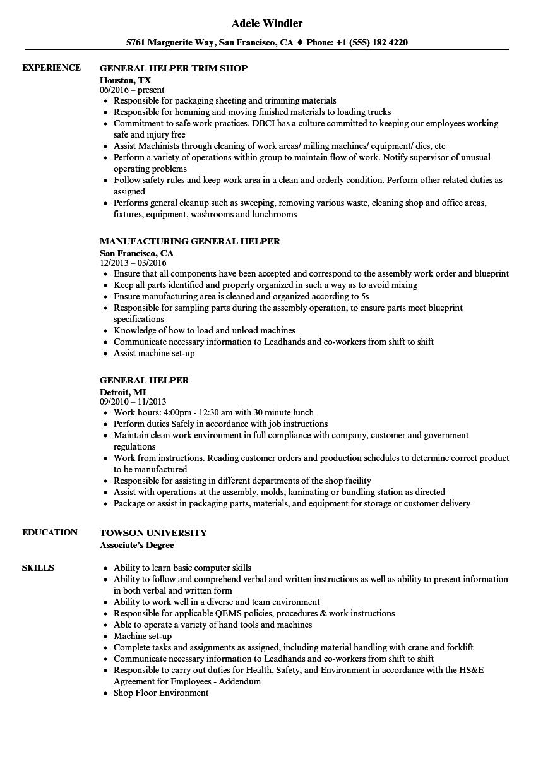sample resume for kitchen helper