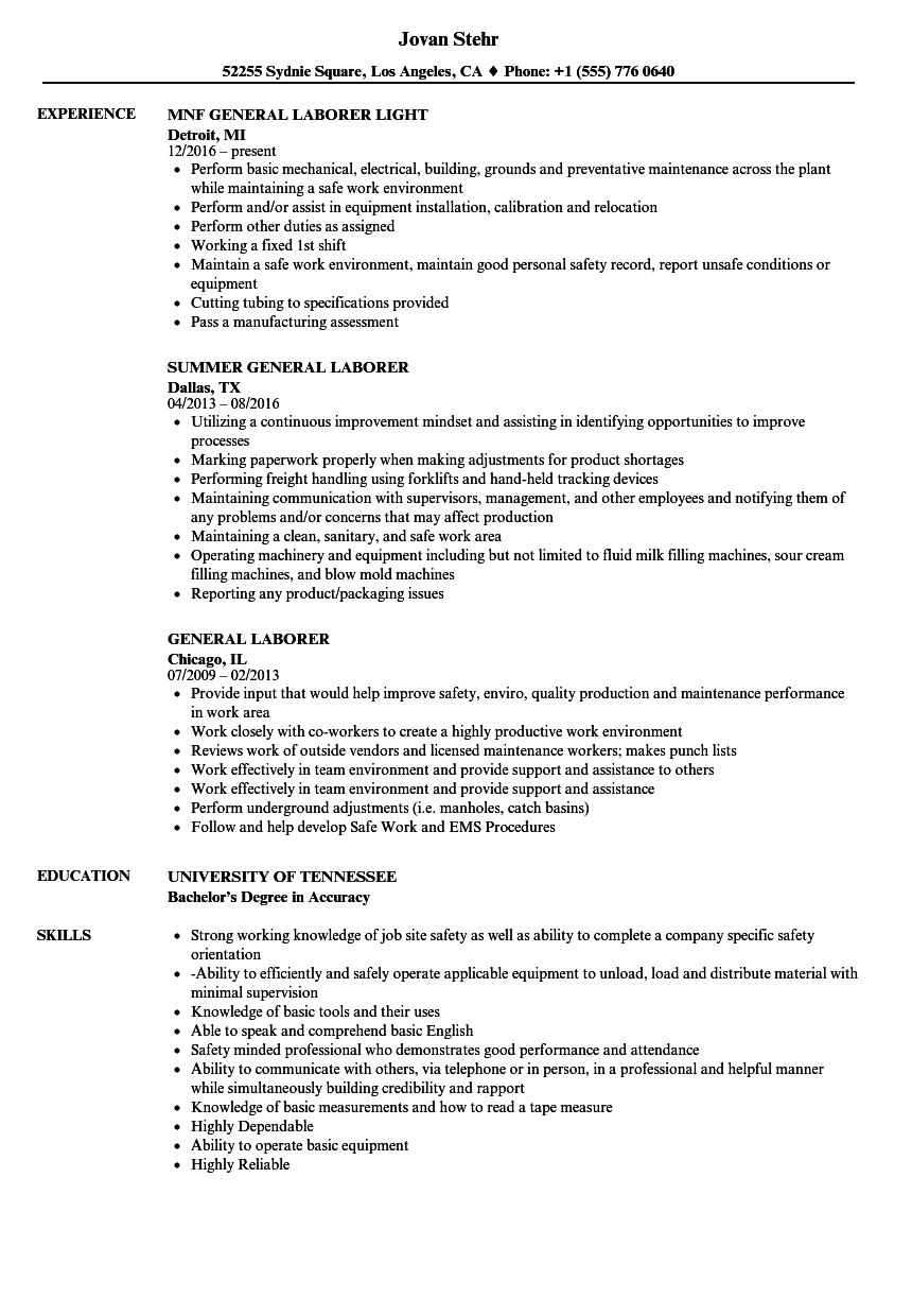 laborer job skills resume