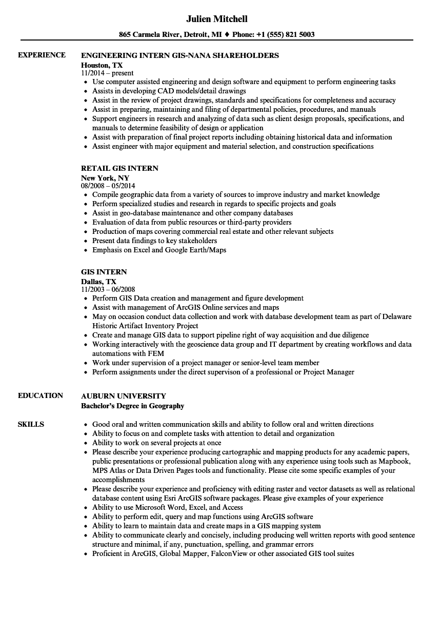 example resume for geography major and gis minor