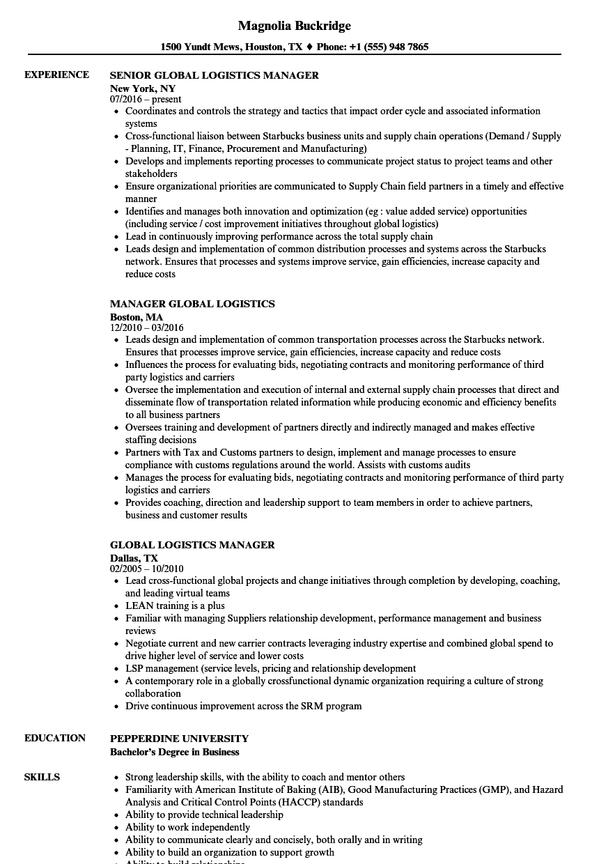 logistics project manager resume sample