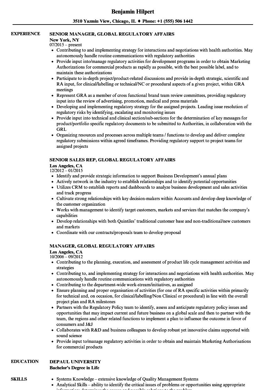 resume sample for regulatory affairs