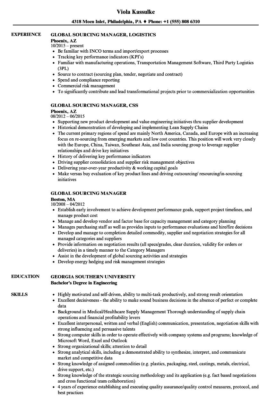sample resume sourcing manager