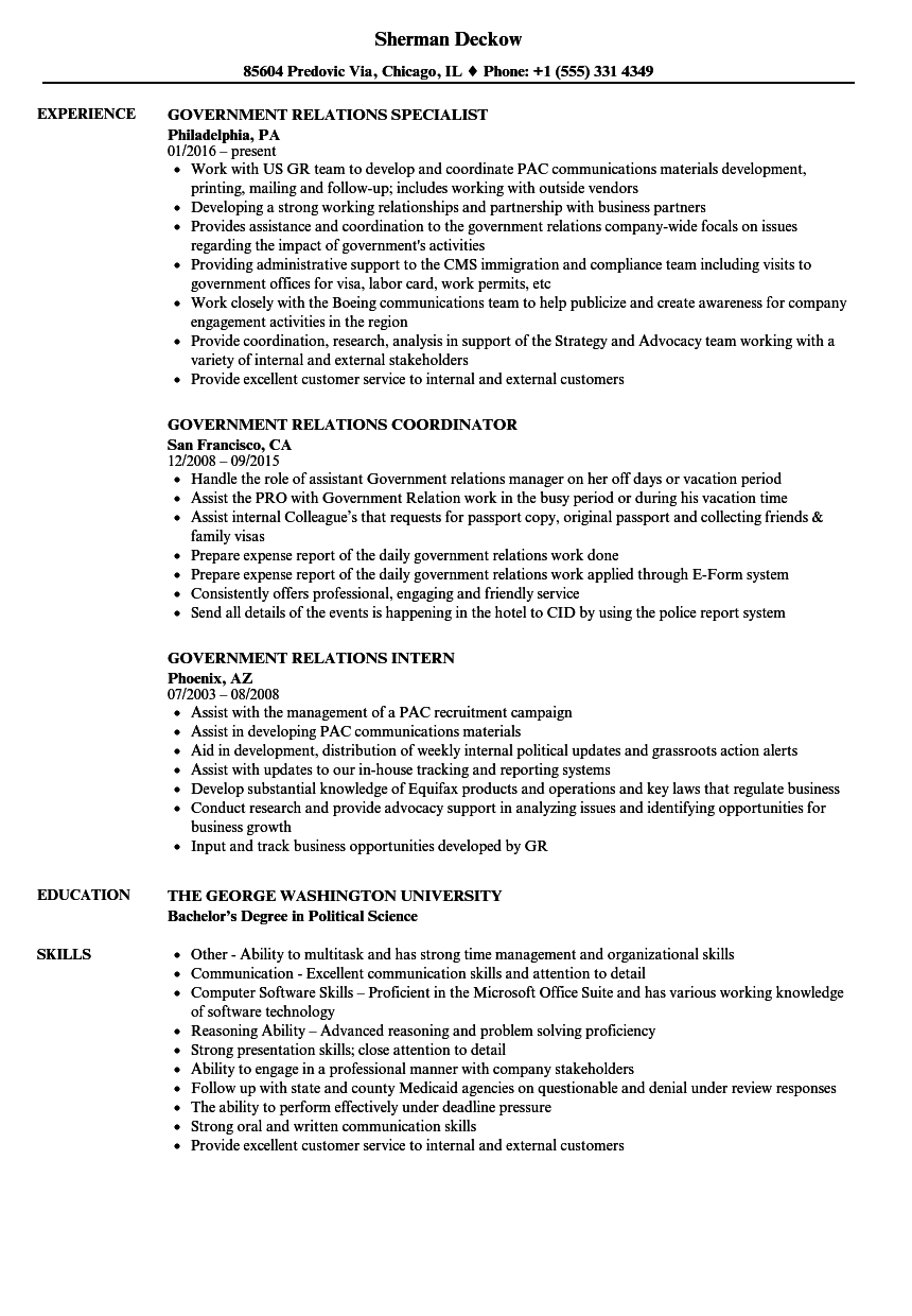 government relations resume examples