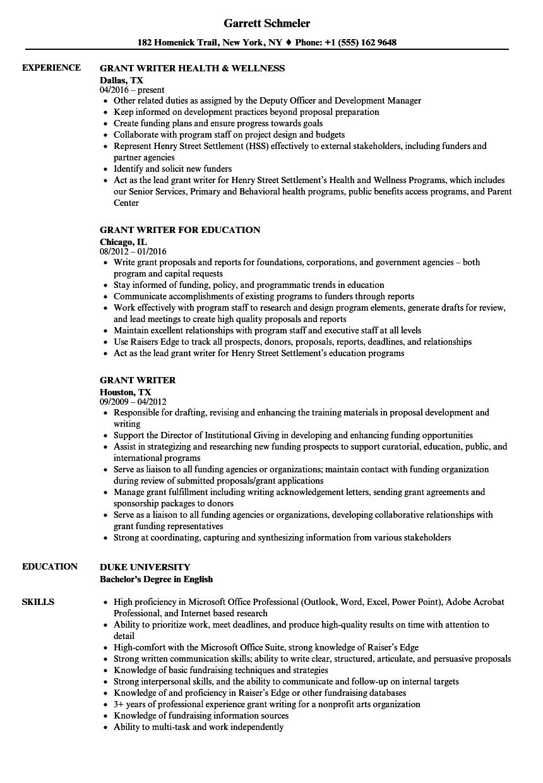 freelance grant writer resume sample