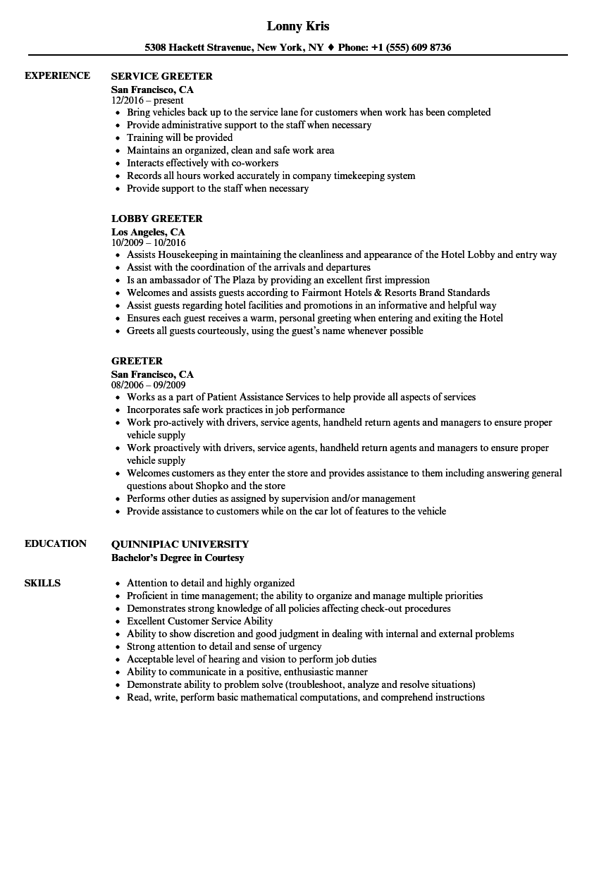 resume objective examples greeter