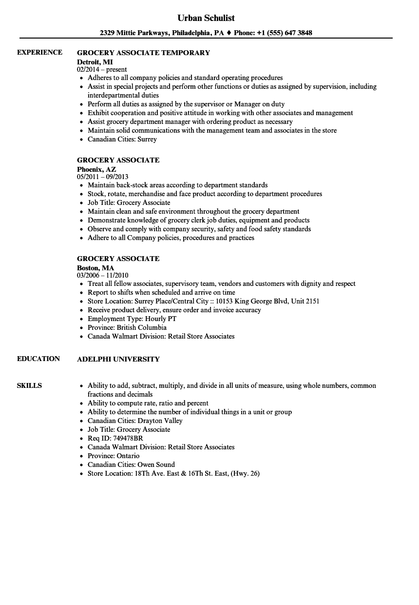 grocery store associate resume sample