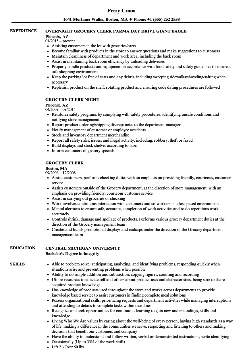 grocery store department manager resume sample