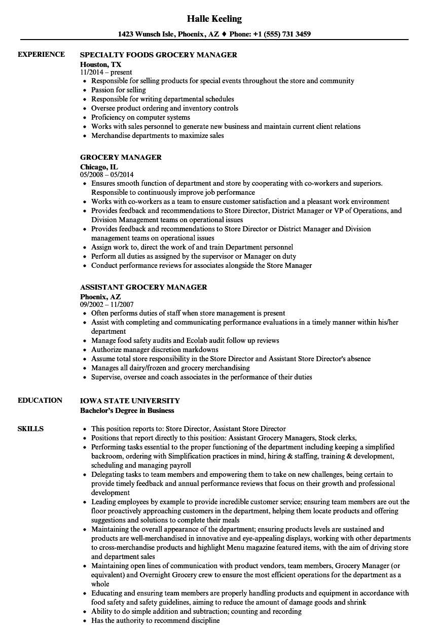 supermarket manager resume template