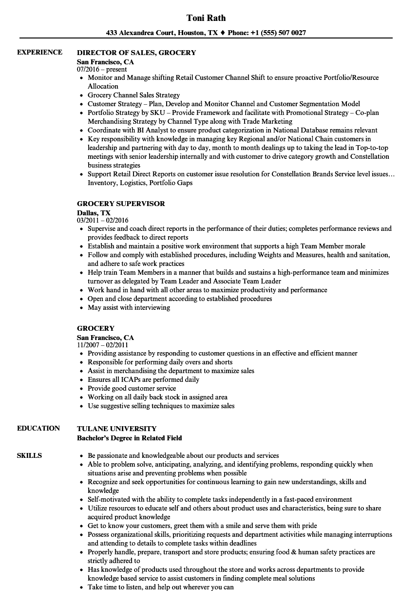 resume examples grocery store