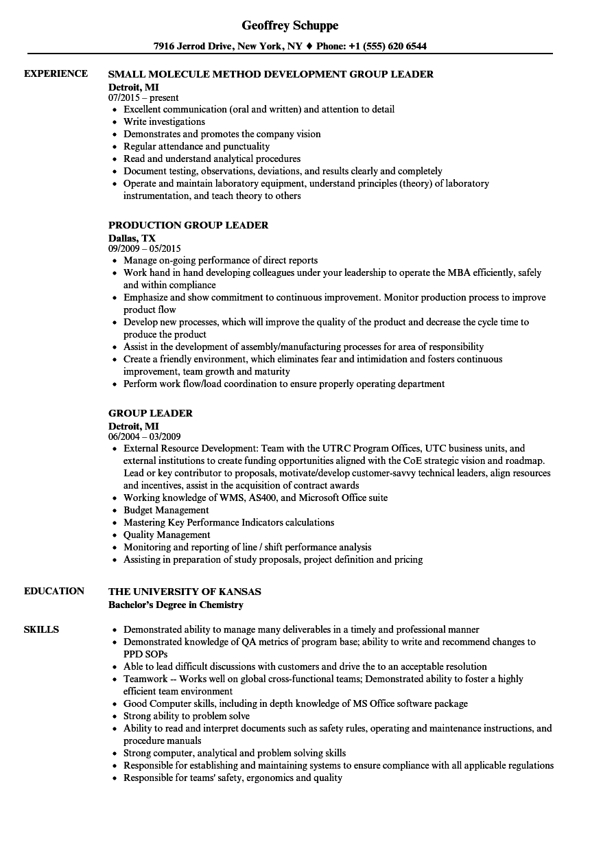 group resume examples