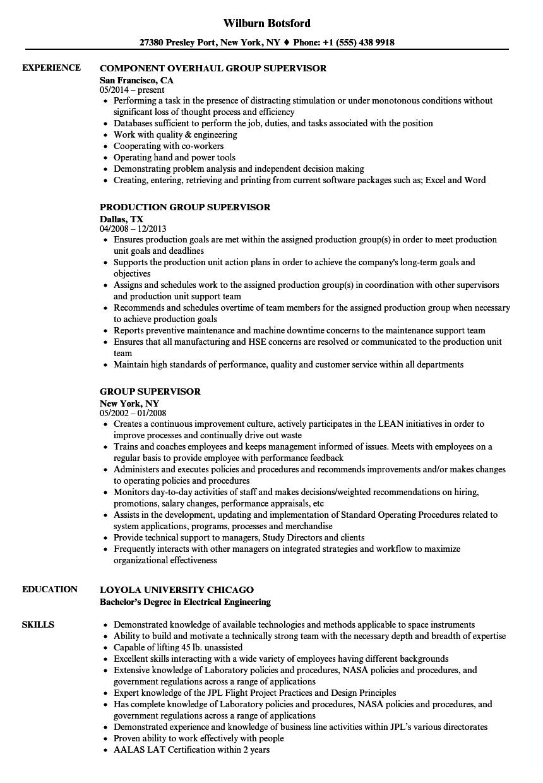 sample resume group home supervisor