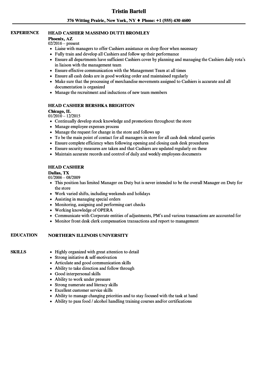 resume examples for cashier skills