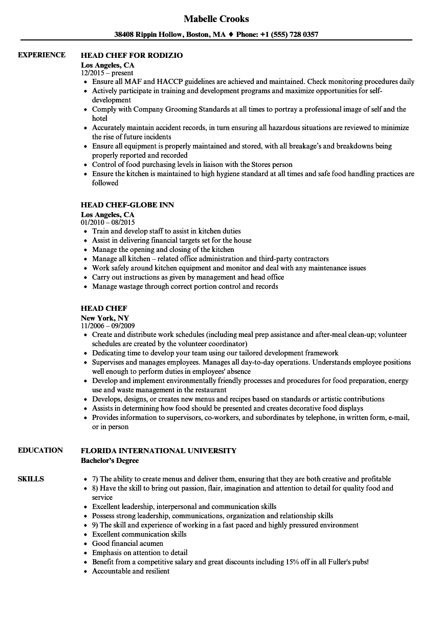 kitchen chef resume templates