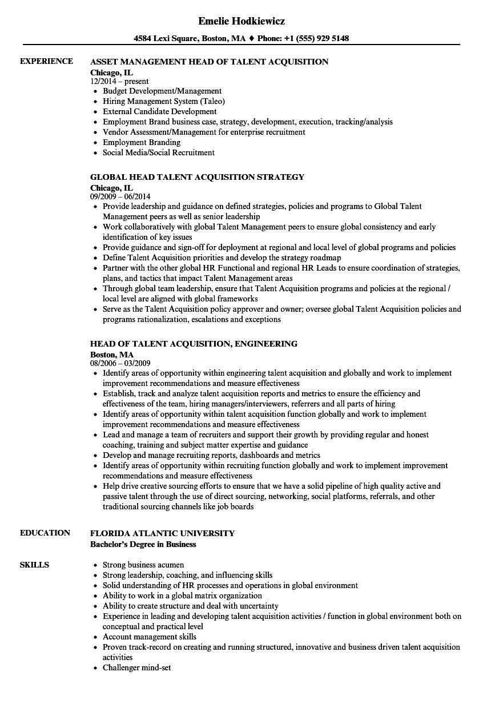 talent acquisition recruiter resume sample
