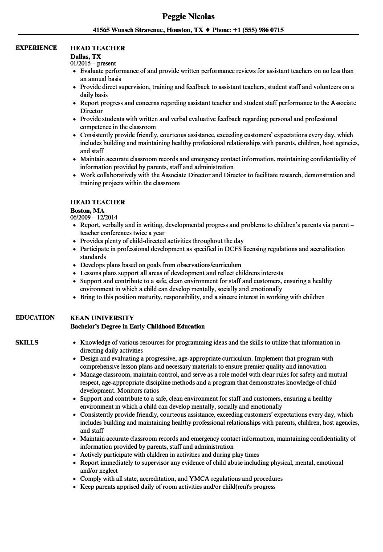 resume for head teacher