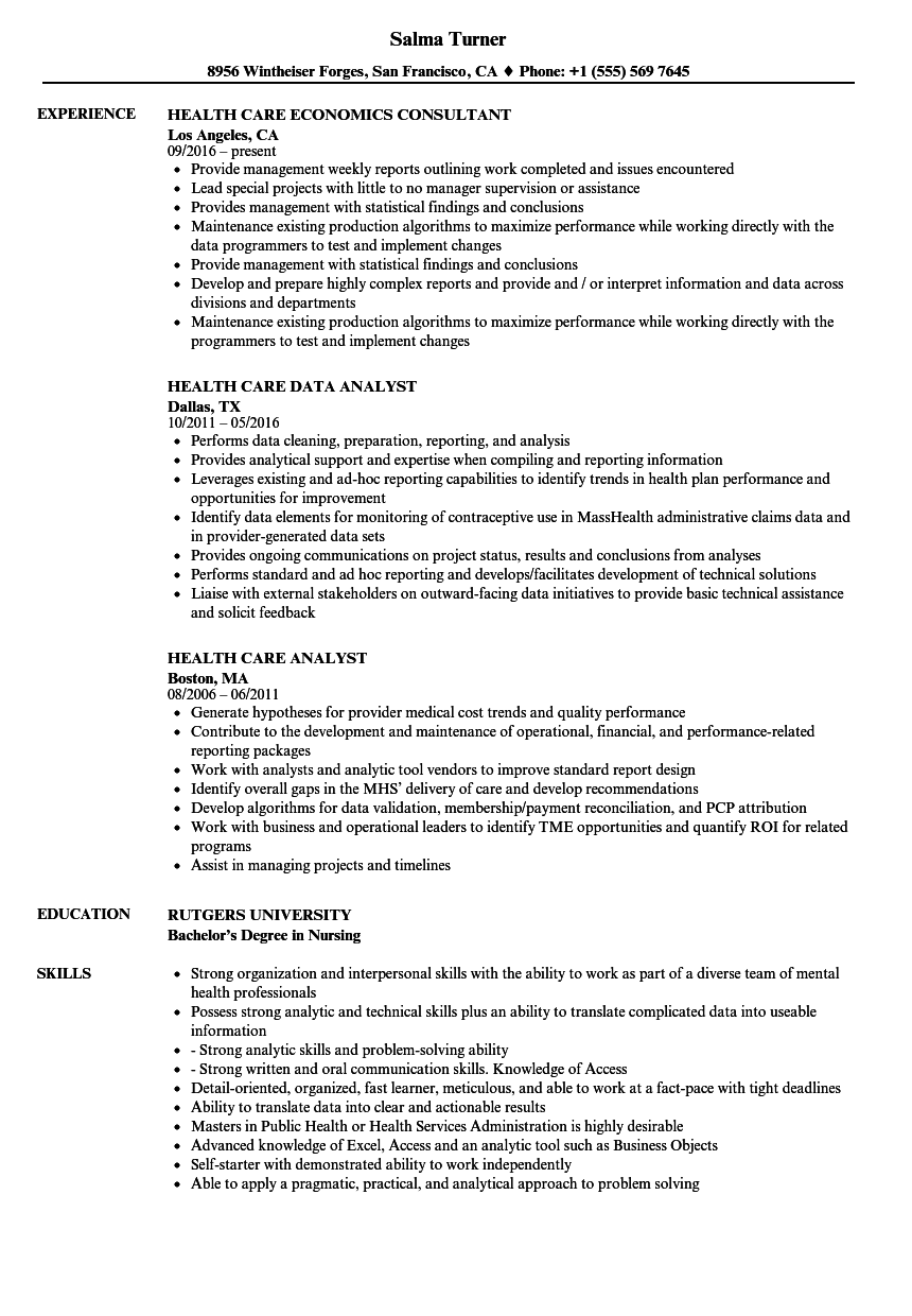 health care director resume sample