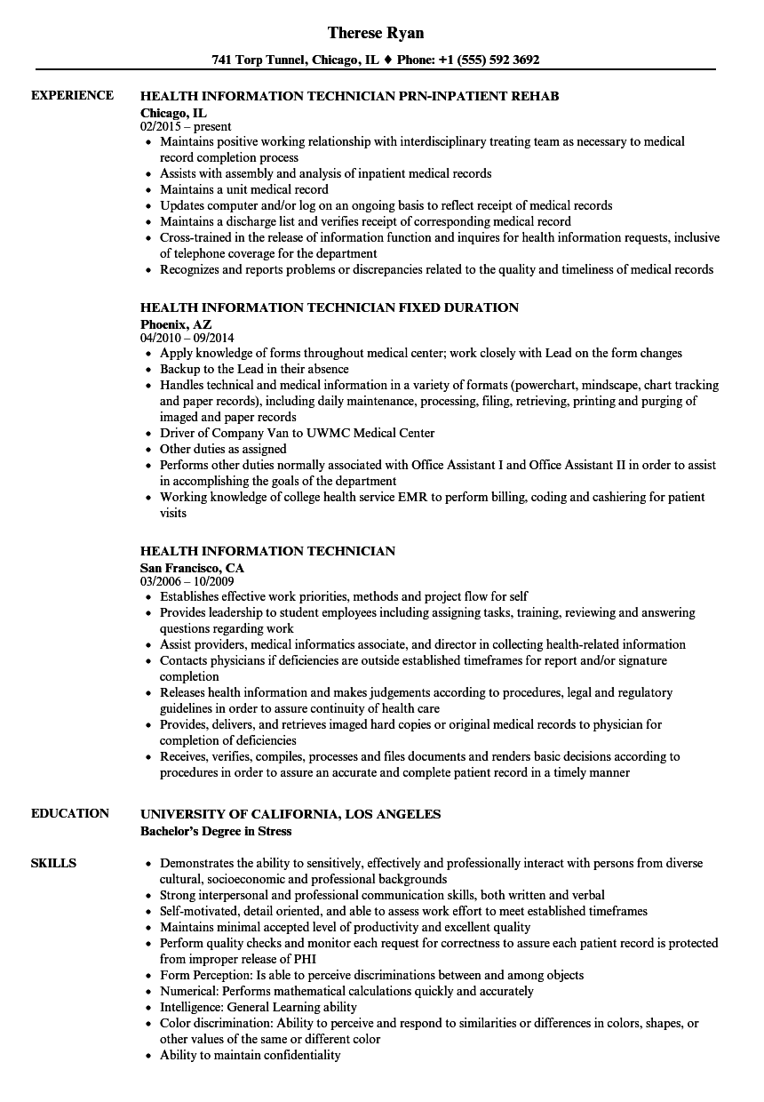 sample resume information technology technician
