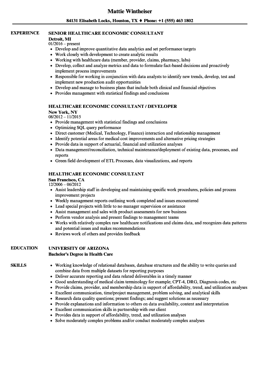 resume examples for healthcare