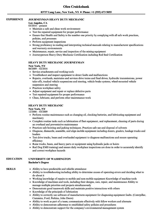 resume examples fleet mechanic