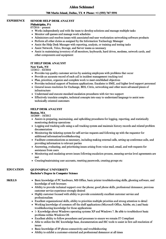 it service desk analyst resume sample