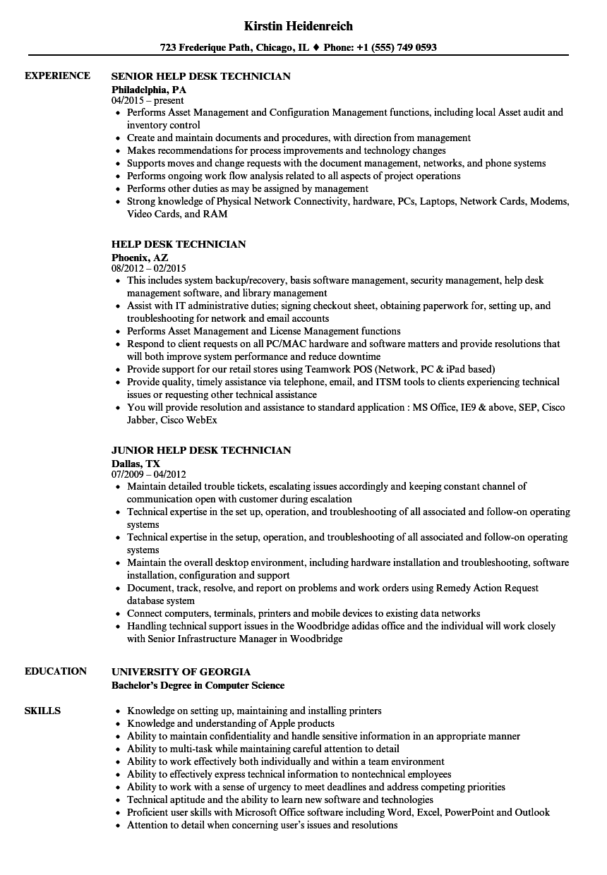 sample resume for it help desk support