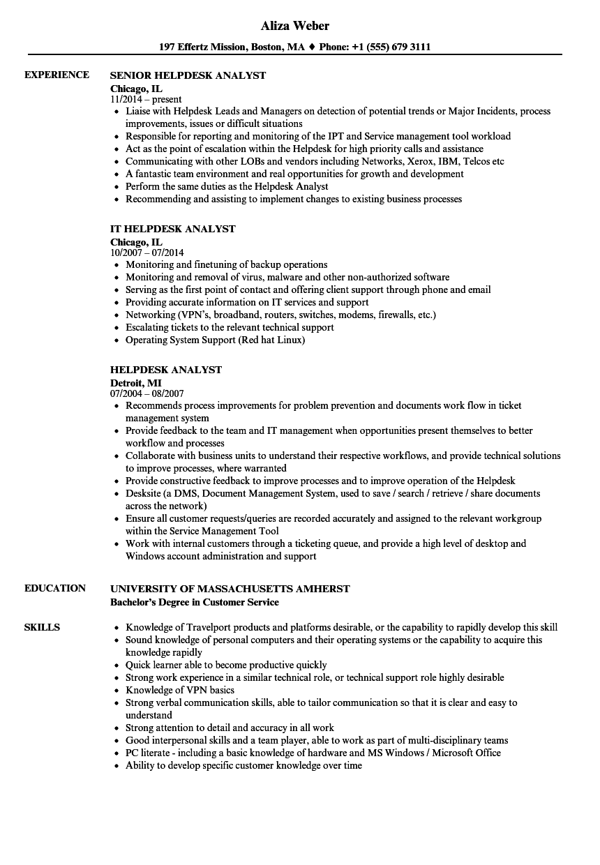 service desk analyst resume template