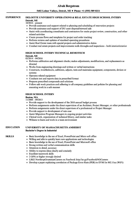 high school internship resume sample