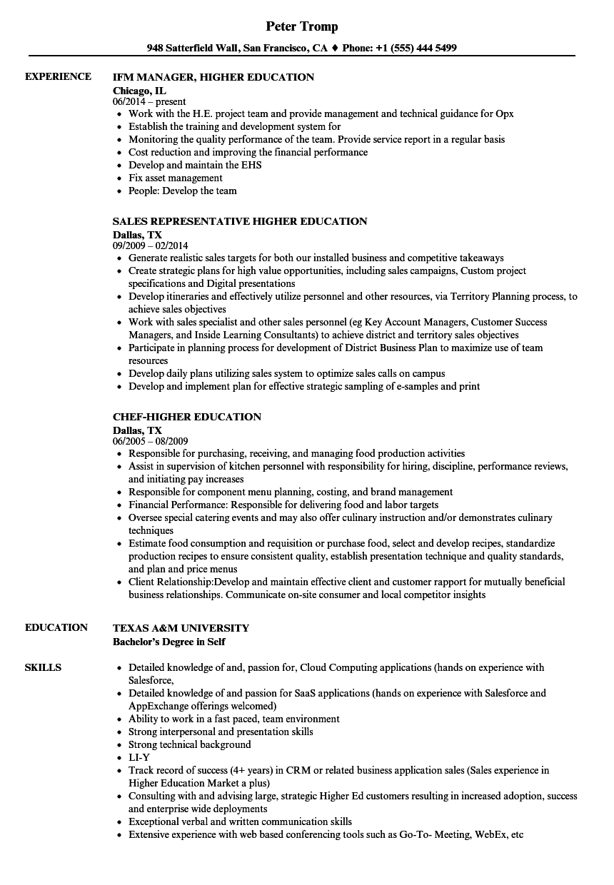 best resume template higher education