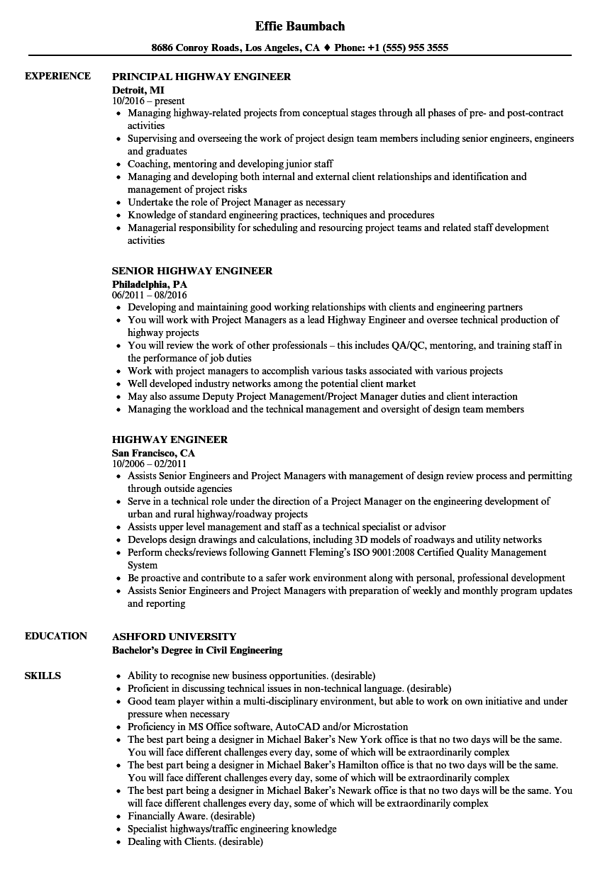 traffic engineer resume samples