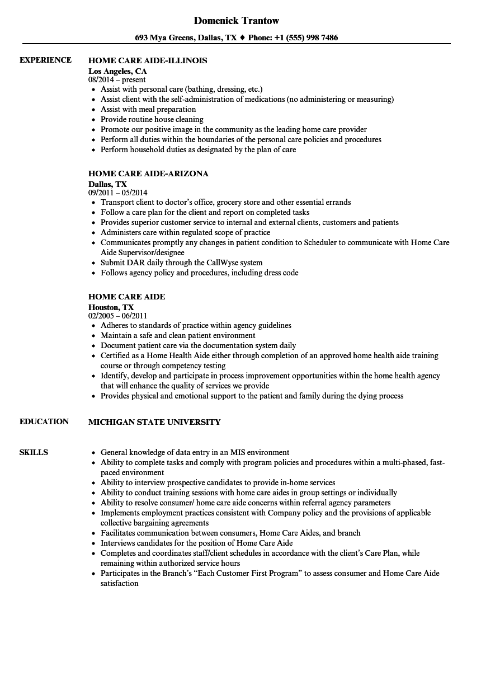 hha resume template