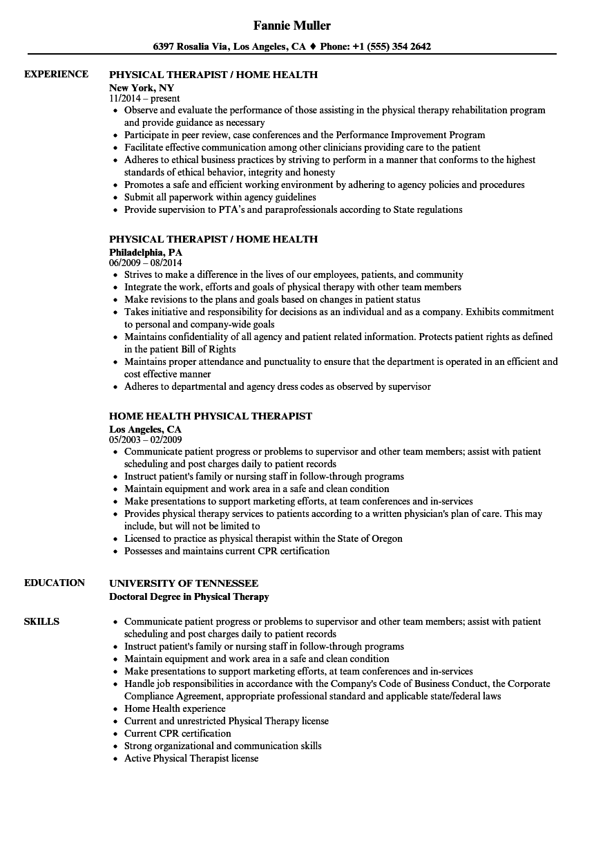 physical therapy manager resume sample