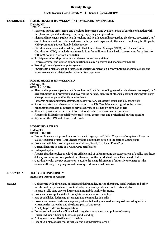 sample resume for homecare nurse