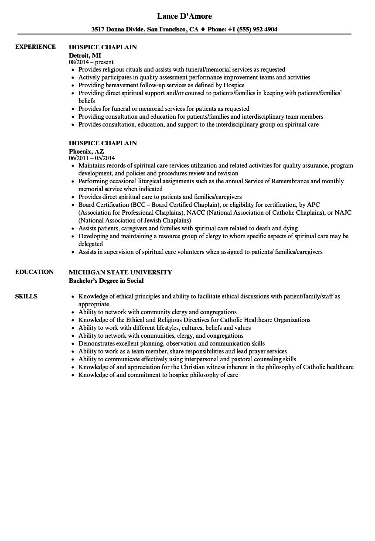 hospital chaplain resume sample