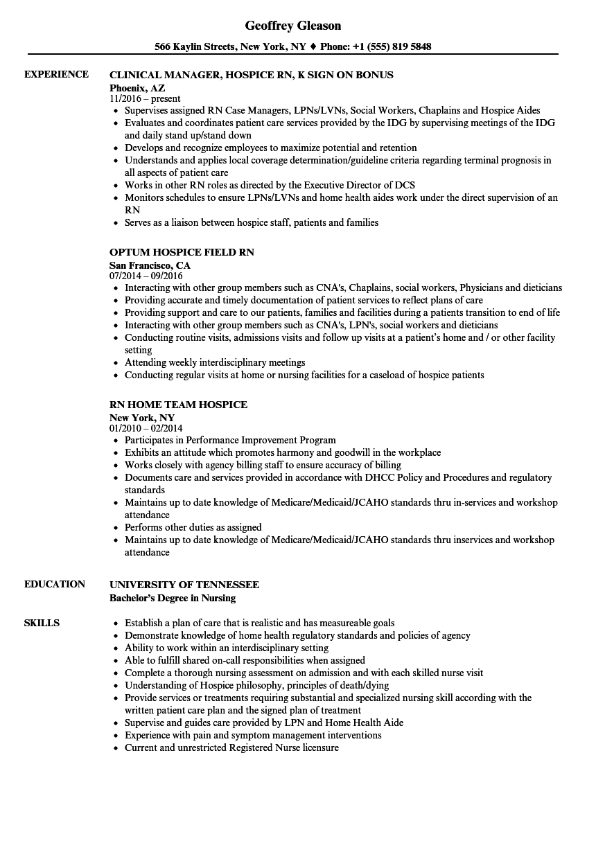 hospice rn resume examples