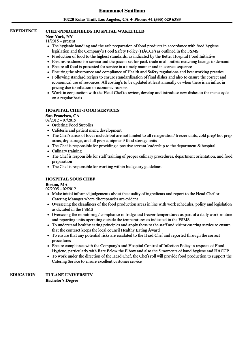 resume examples food