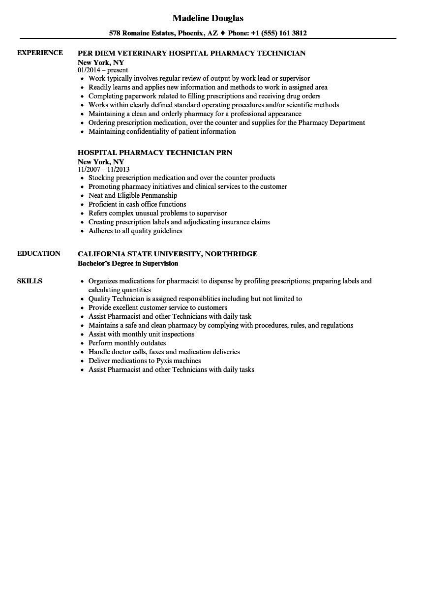 sample resume for hospital pharmacy technician
