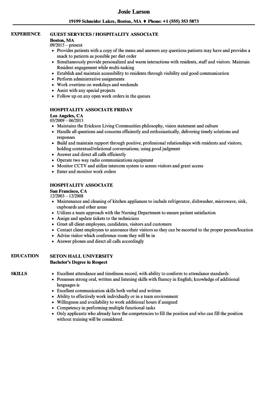 hospitality associate resume sample