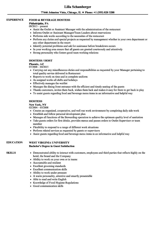 resume sample for hostess skills