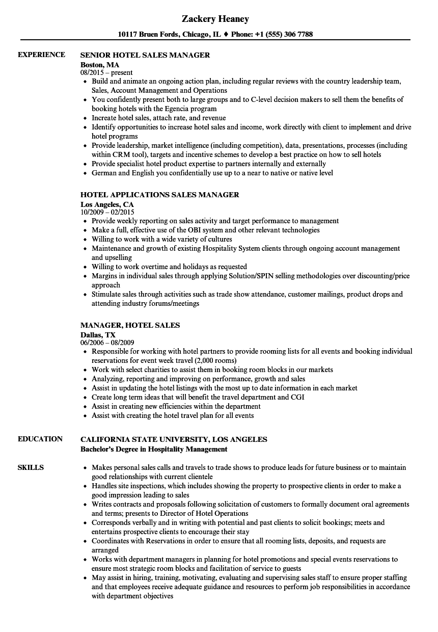 hotel sales manager sample resume