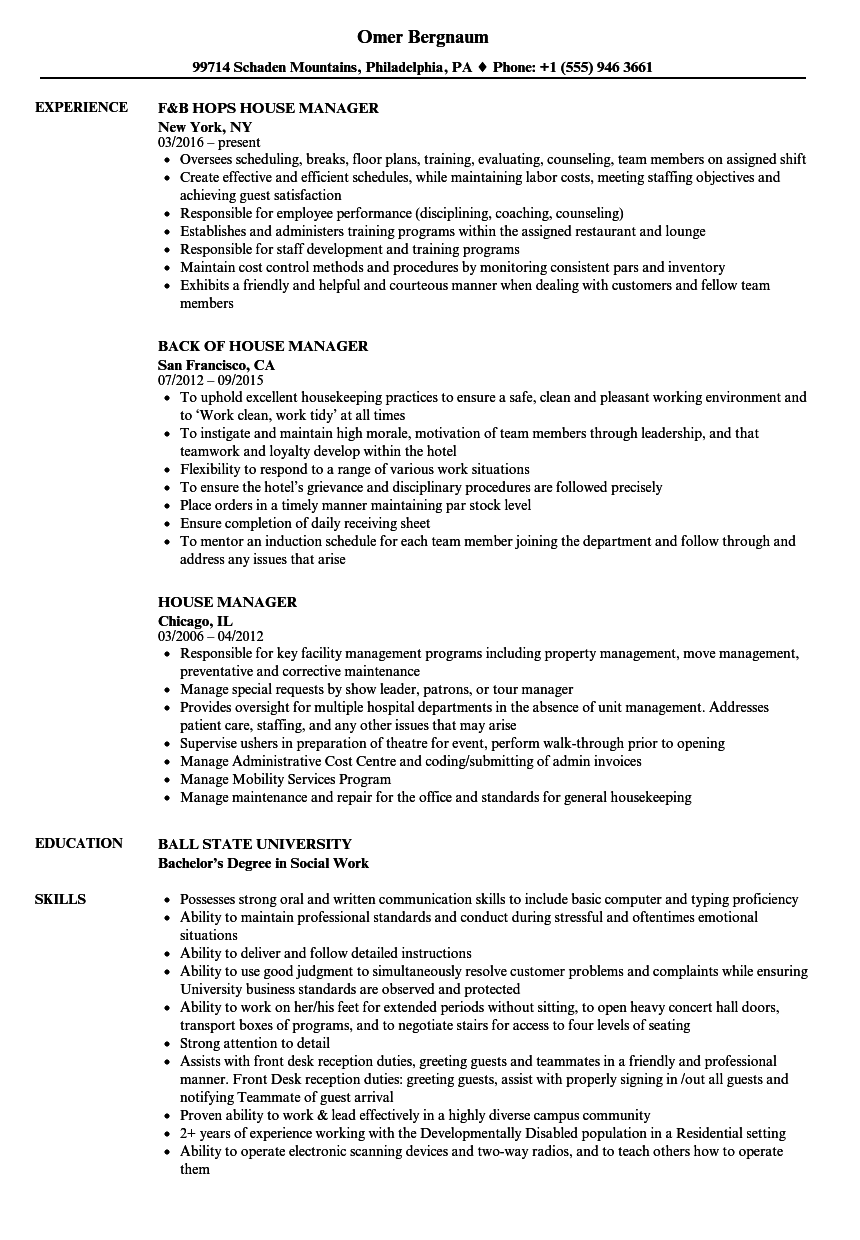 theatre house manager resume sample