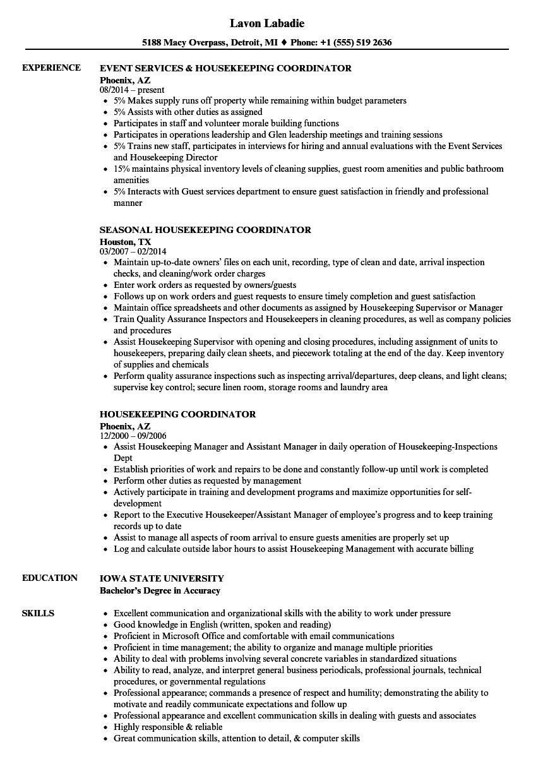 housekeeping coordinator responsibilities resume sample