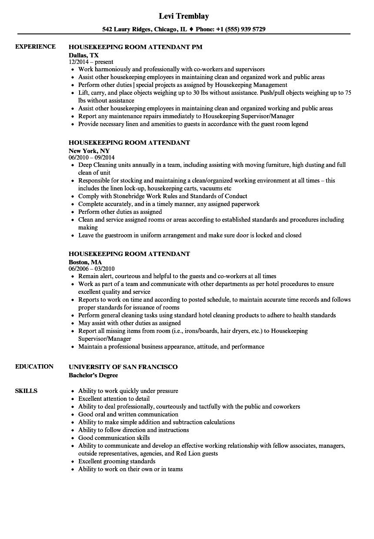 housekeeping attendant sample resume