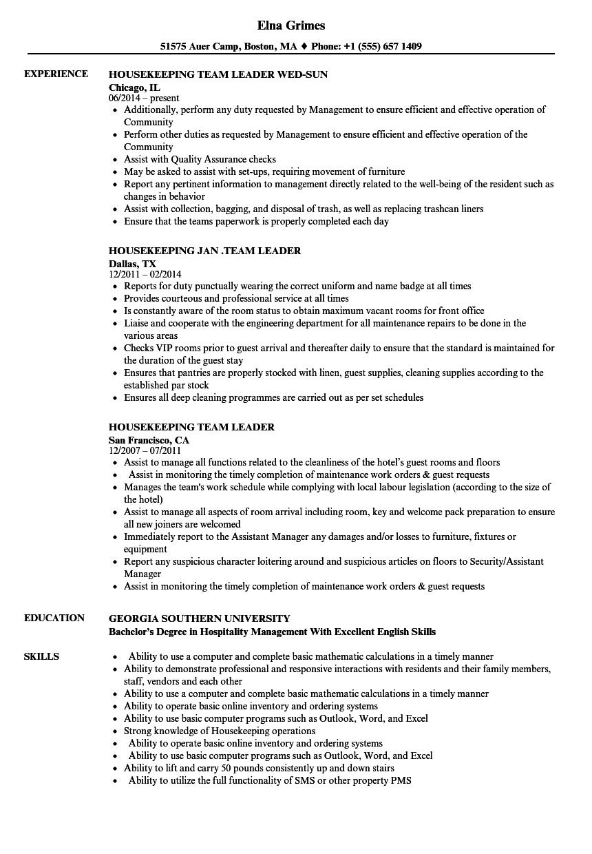 resume model for housekeeper