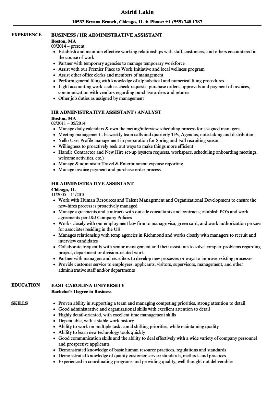 hr administrative assistant resume sample