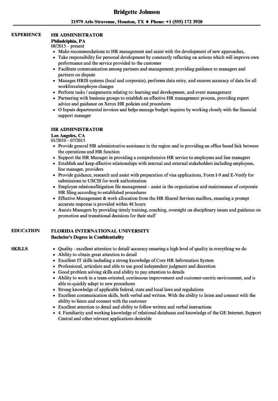sample resume hr admin assistant