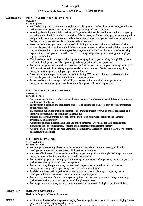 hr business partner resume examples
