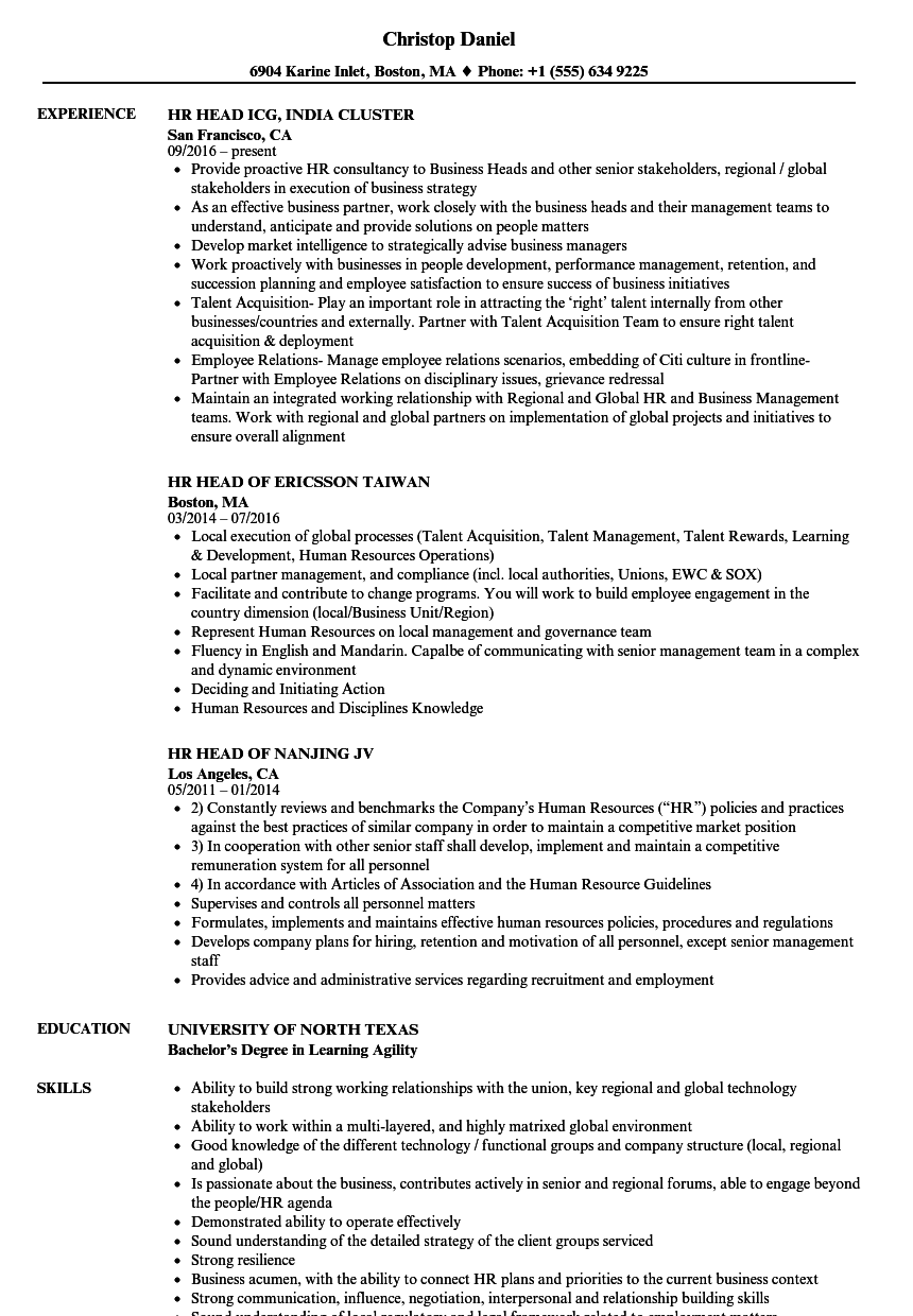 hr experience resume samples
