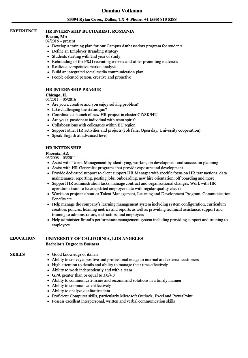 sample resume including internship experience
