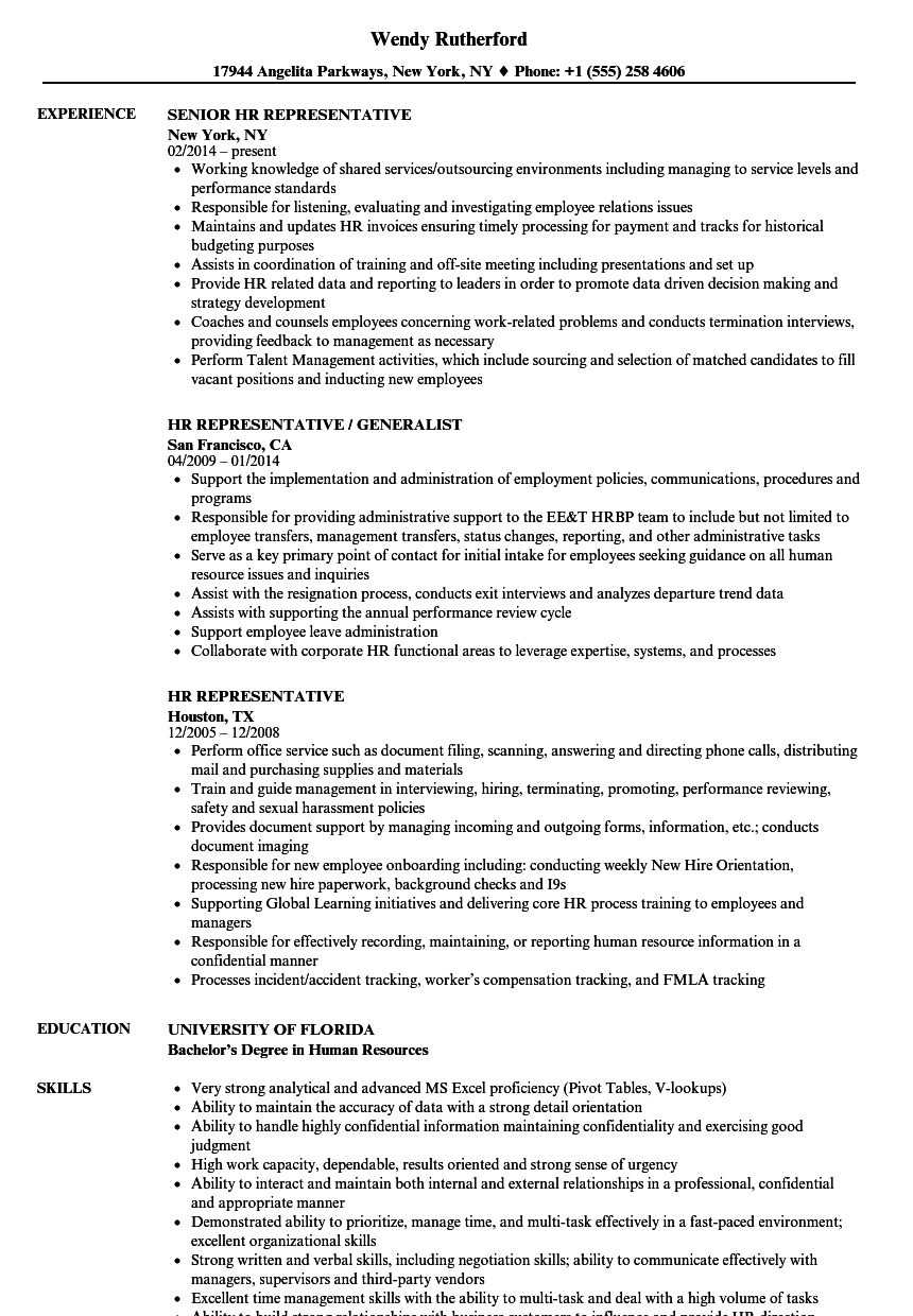resume for human resources student